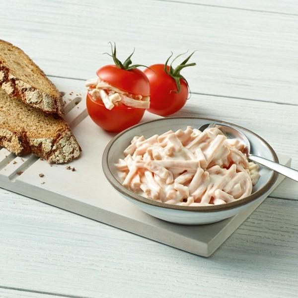 Oederaner Fleischsalat Serviervorschlag mit Tomaten