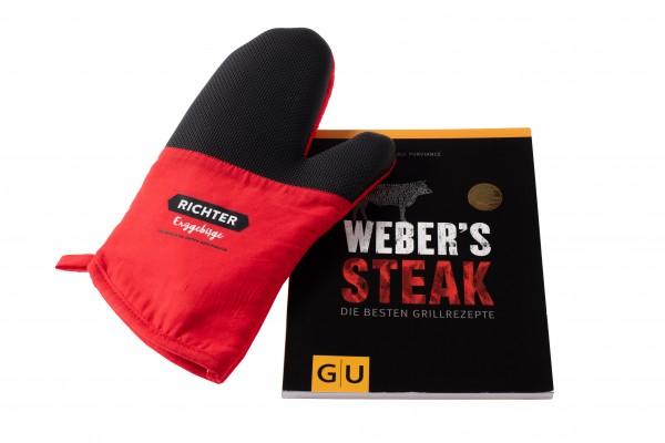 Set: Kochbuch Weber´s Steak und Topf-Handschuh Richter Erzgebirge