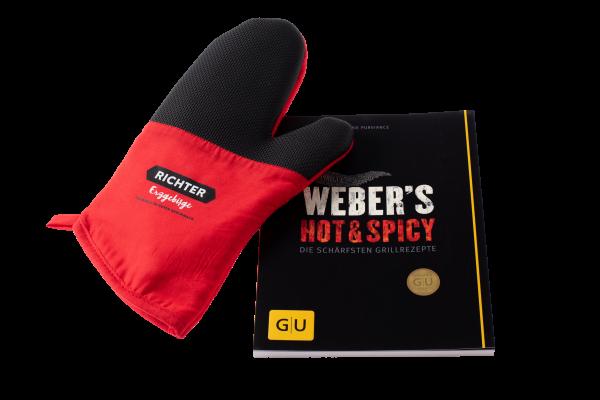 Set: Kochbuch Weber´s Hot & Spicy und Topf-Handschuh Richter Erzgebirge