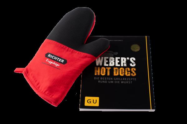 Set: Kochbuch Weber´s Hot Dogs und Topf-Handschuh Richter Erzgebirge