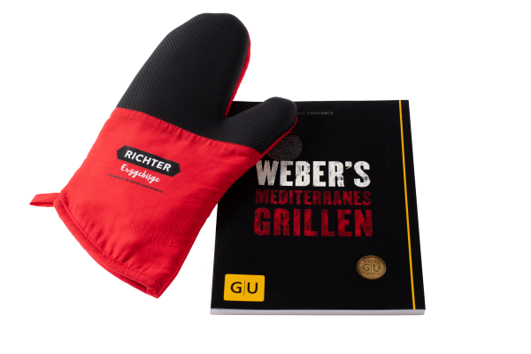 Set: Kochbuch Weber´s Mediterranes Grillen und Topf-Handschuh Richter Erzgebirge