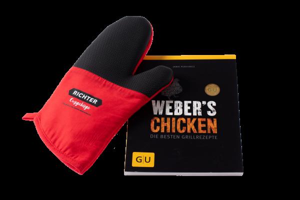 Set: Kochbuch Weber´s Chicken und Topf-Handschuh Richter Erzgebirge